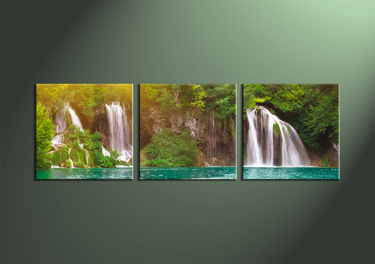 3 Piece Green Canvas Ocean Waterfall Artwork