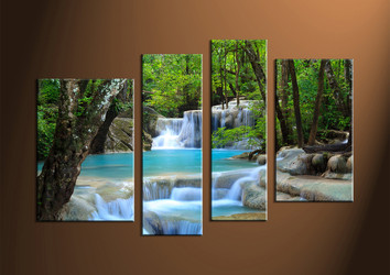 Home Decor Art, 4 piece canvas art prints,ocean canvas print, waterfall group canvas, Scenery pictures