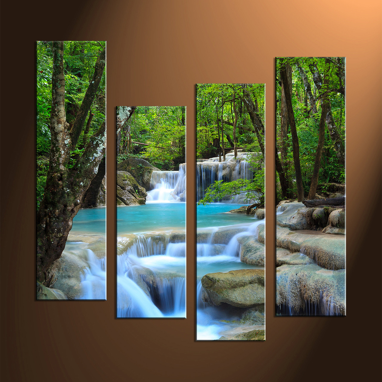 4 Piece Wall Art 4 piece canvas blue waterfall ocean art