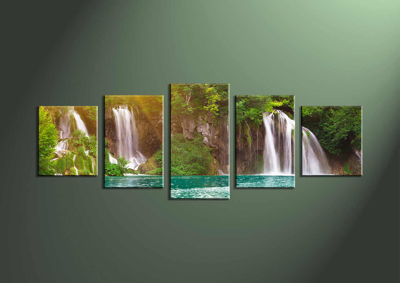 Waterfall Wall Art 5 piece waterfall ocean green canvas pictures
