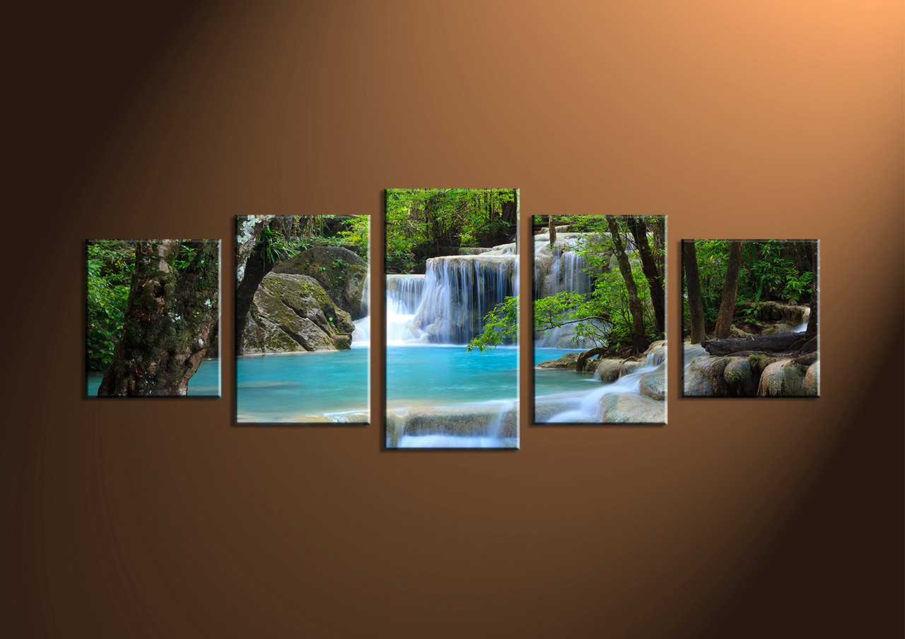 Home decor 5 piece wall art ocean multi panel waterfall for House decoration pieces