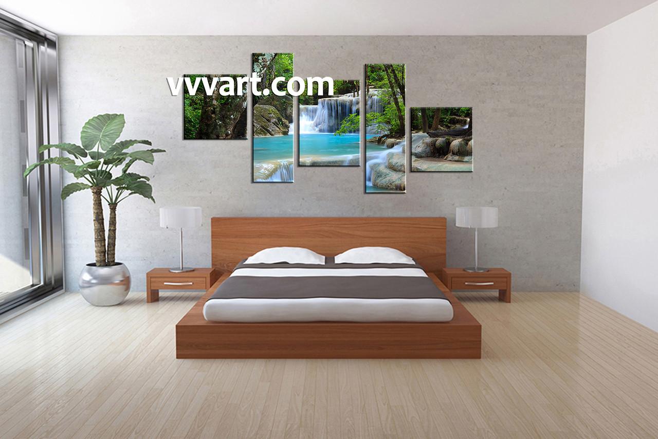 bedroom waterfall. Bedroom Wall Decor  5 Piece Art scenery multi panel art ocean photo Blue Canvas Waterfall Ocean Artwork