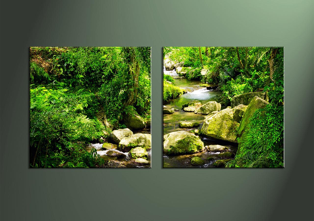 2 piece green nature ocean wall art home decor 2 piece wall art waterfall multi panel art scenery photo canvas amipublicfo Choice Image