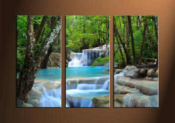 3 Piece Canvas Ocean Green Art Prints,Large Canvas Art,Split Canvas