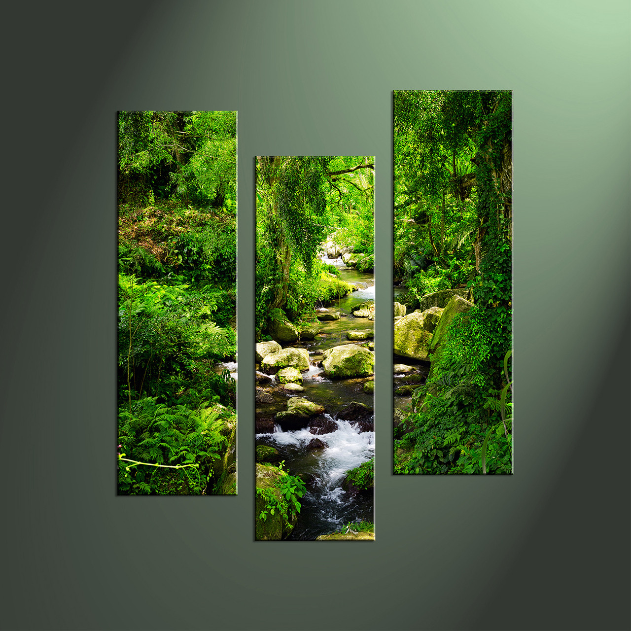 Multi Piece Canvas Wall Art 3 piece canvas green ocean wall art