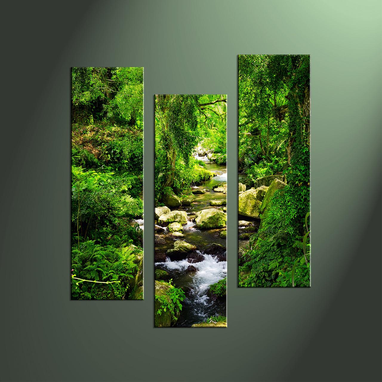 Waterfall Wall Art 3 piece canvas green ocean wall art