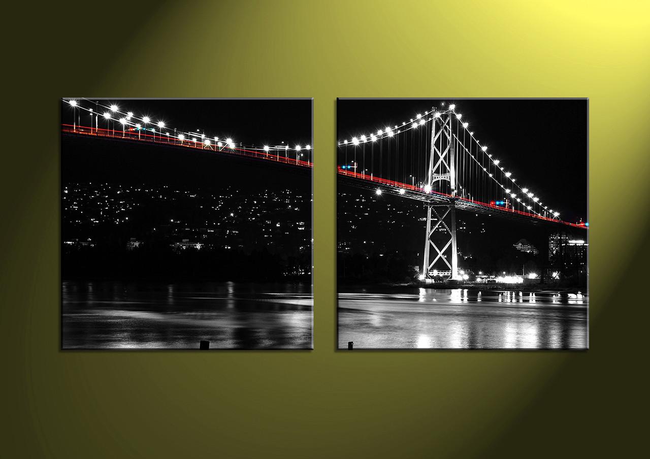 Home Decor 2 Piece Wall Artcity multi panel art scenery canvas art & 2 Piece Black Canvas City Bridge Multi Panel Art