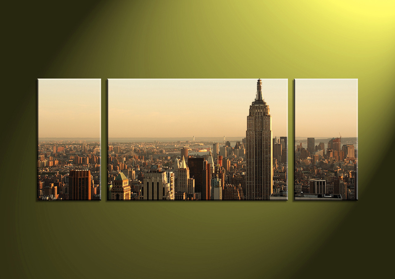 3 Piece Brown Cityscape Canvas Wall Art