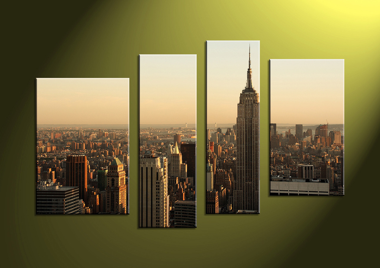 4 Piece Brown Canvas City Large Pictures