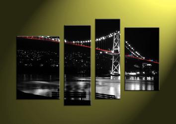 Home Decor, 4 Piece Wall Art,city multi panel art, scenery canvas art, bridge multi panel art