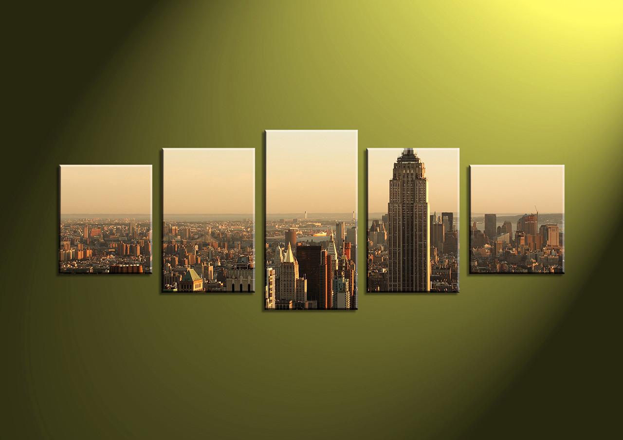 5 Piece Brown Buildings Cityscape Group Canvas