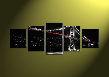 Home art, 5 piece canvas wall art, bridge multi panel canvas, scenery large pictures, city canvas photography