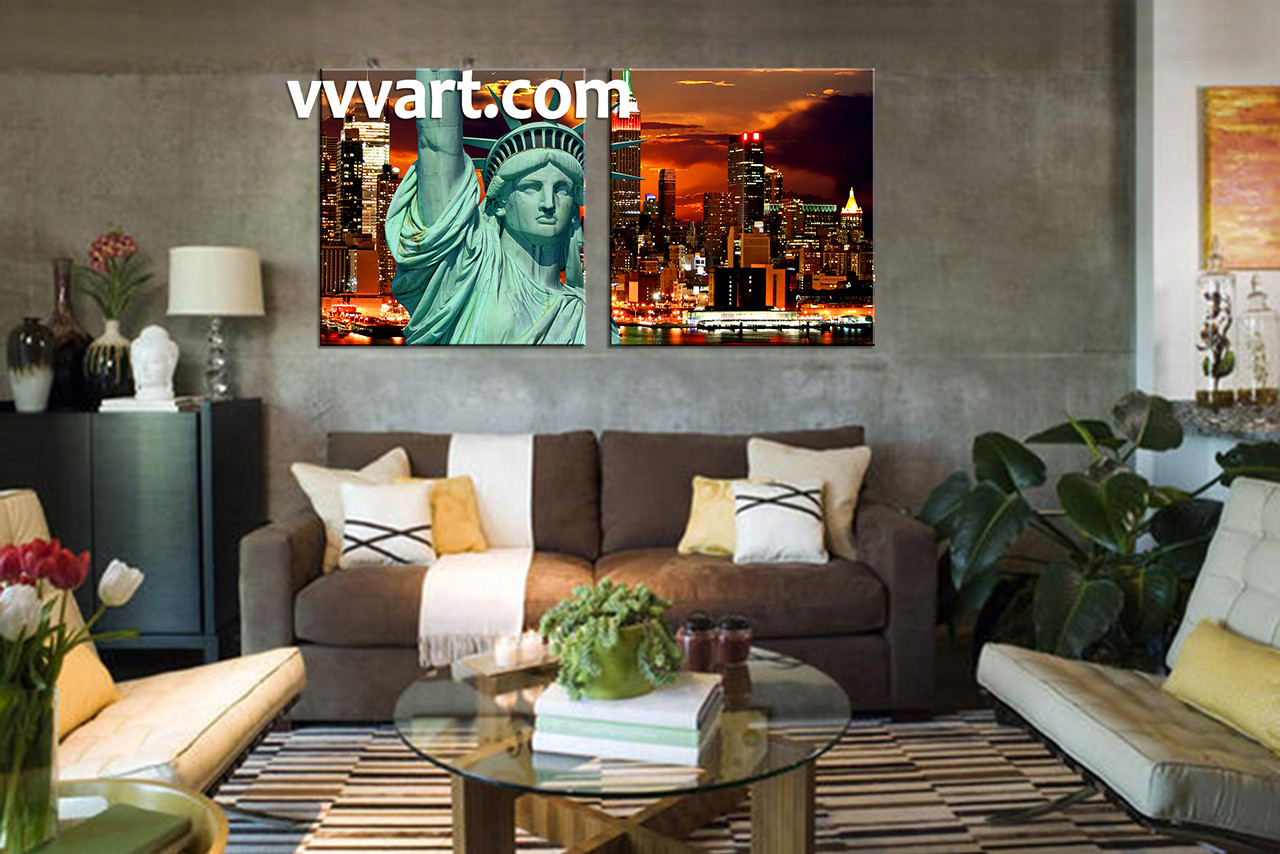piece brown city canvas wall art - living room wall art  piece wall art city multi panel art city