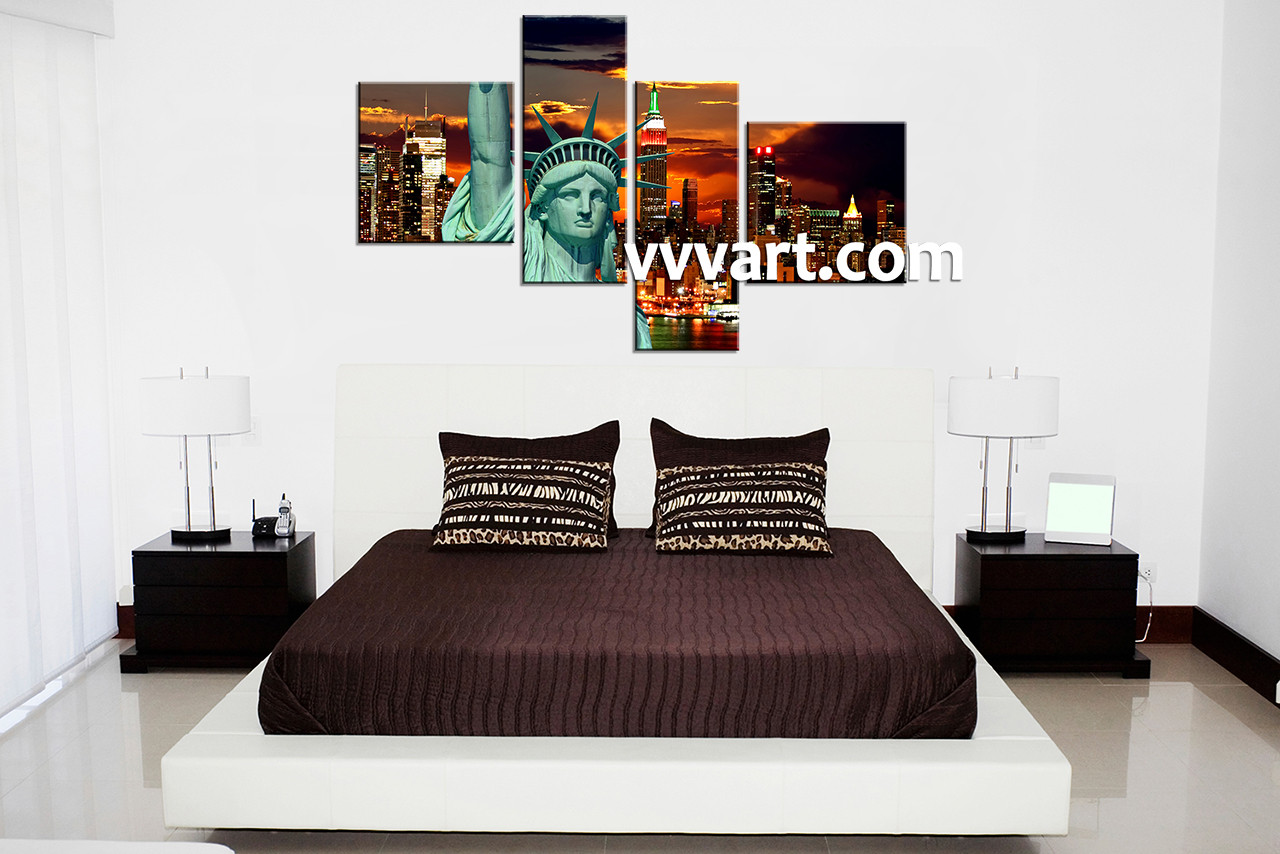 Bedroom Decor, 4 Piece Wall Art, City Multi Panel Art, City Wall Art
