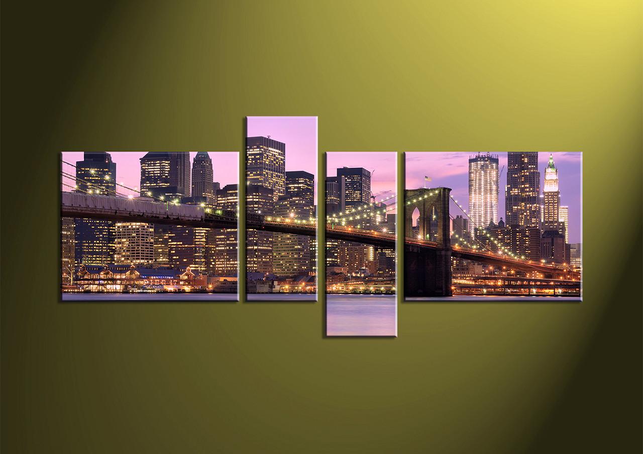 Home Art 4 Piece Wall Artcity multi panel art building canvas art & 4 Piece Purple Bridge Cityscape Canvas Wall Art