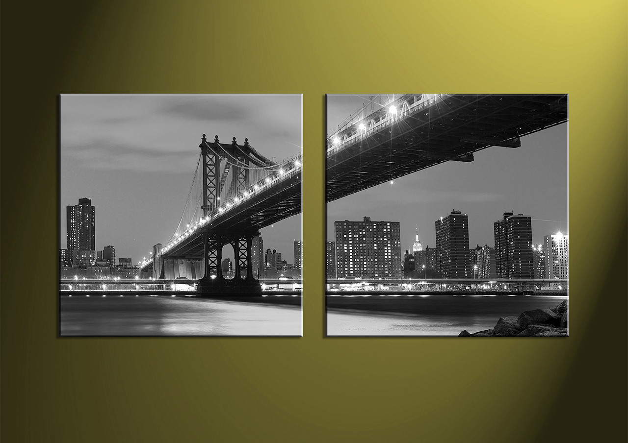 Black And White Canvas Wall Art 2 piece grey bridge city black and white multi panel canvas
