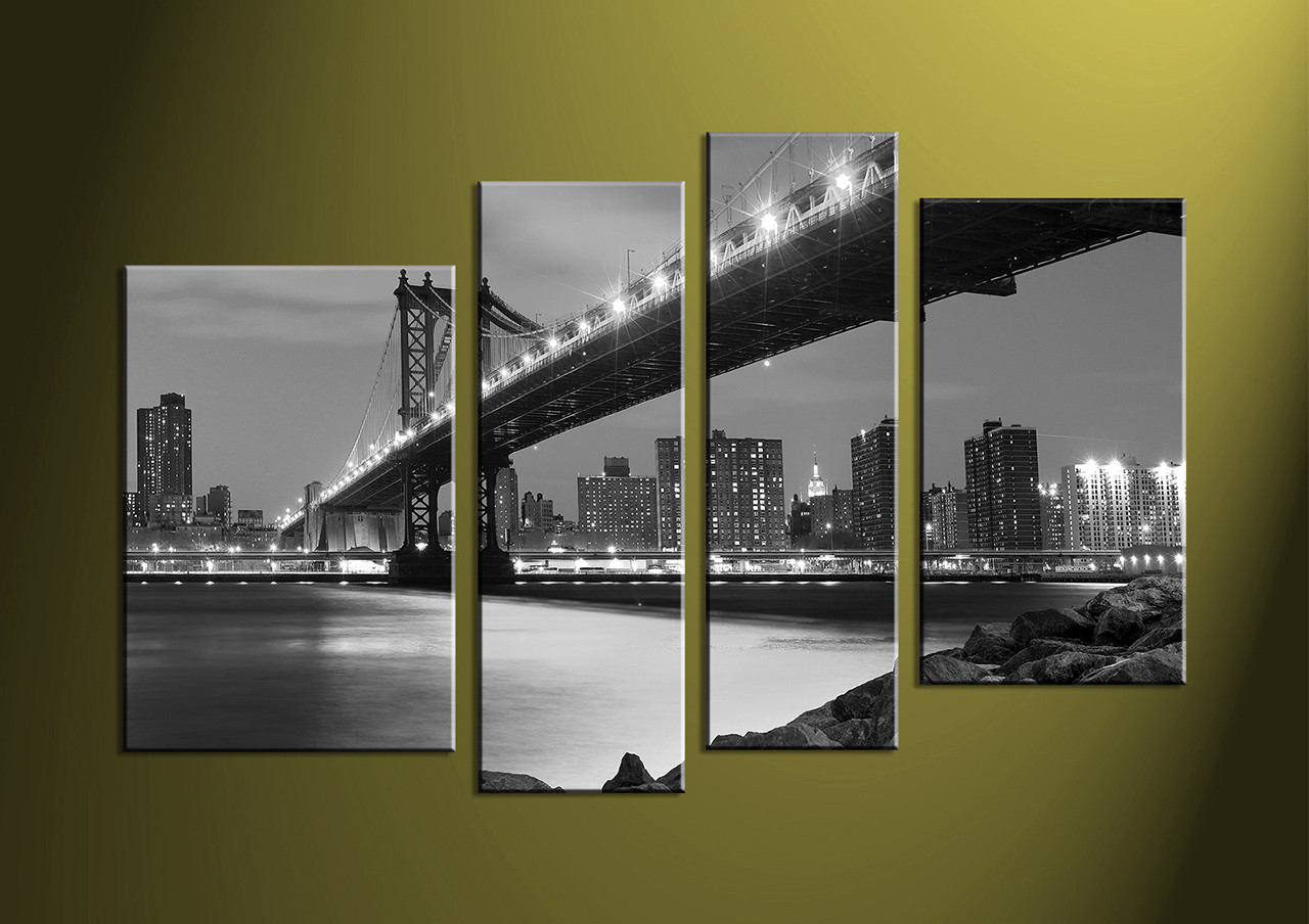 Multi Frame Wall Art 4 piece black and white city grey canvas art prints