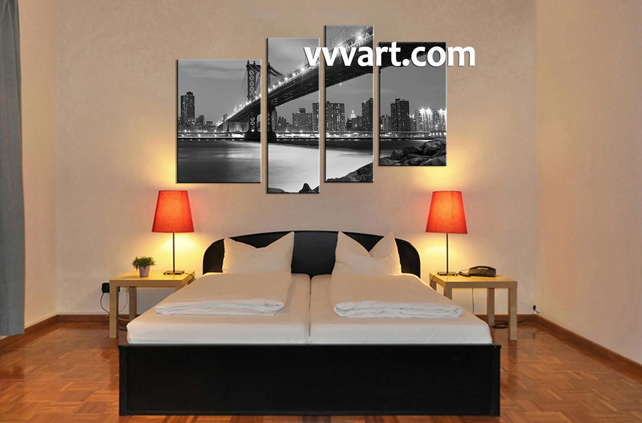 4 Piece Black And White City Grey Canvas Art Prints