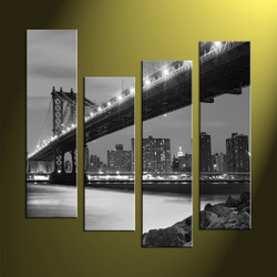 Home Decor, 4 Piece Wall Art, black and white multi panel art, city artwork, photo canvas