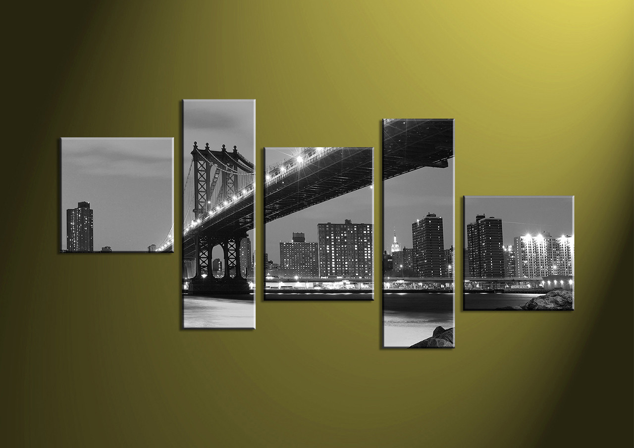 Home Decor 5 piece canvas wall art black and white multi panel canvas & 5 Piece City Grey Bridge Black And White Canvas Prints