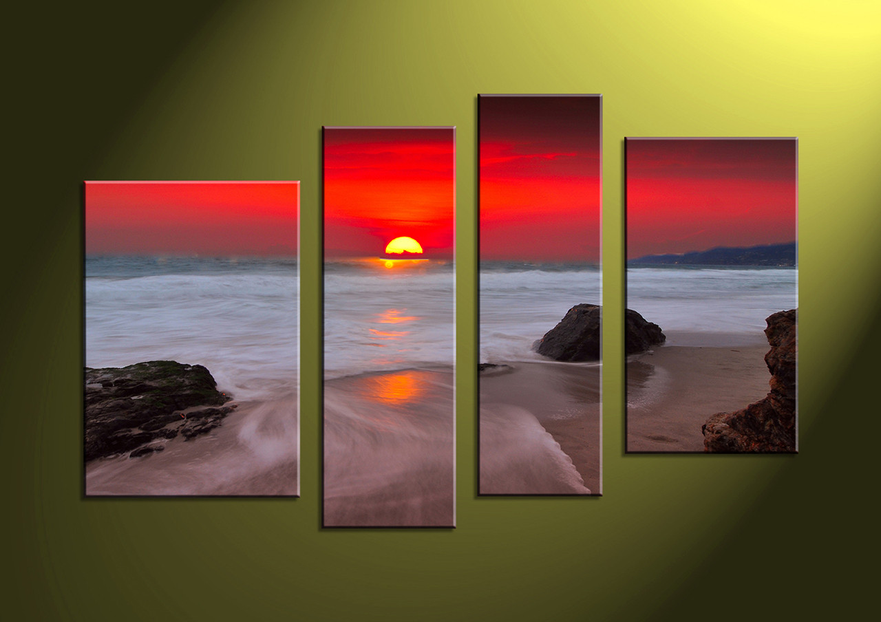 4 piece canvas red sunset white ocean wall art for 4 home decor