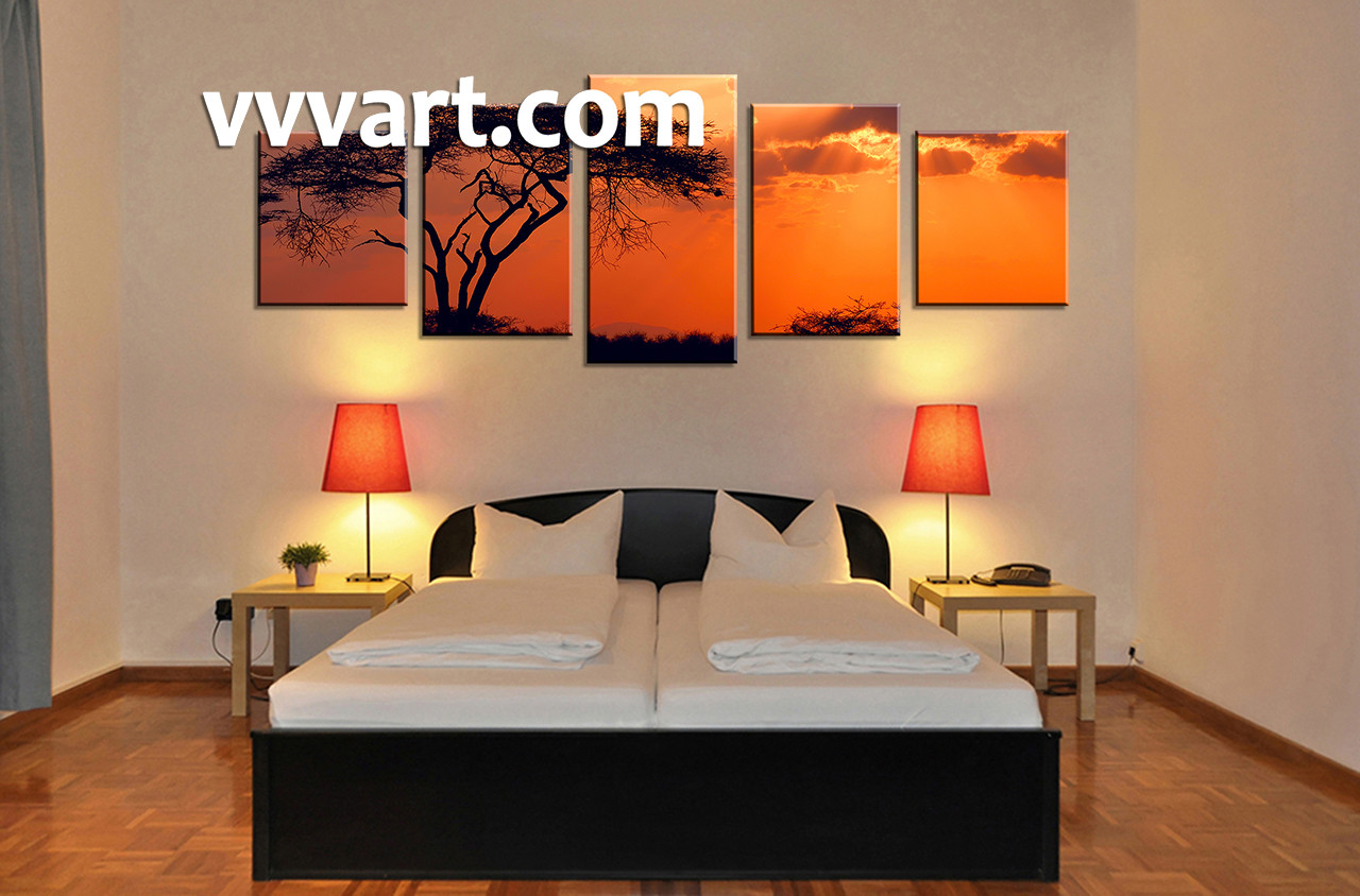 5 Piece Landscape Yellow Wall Art