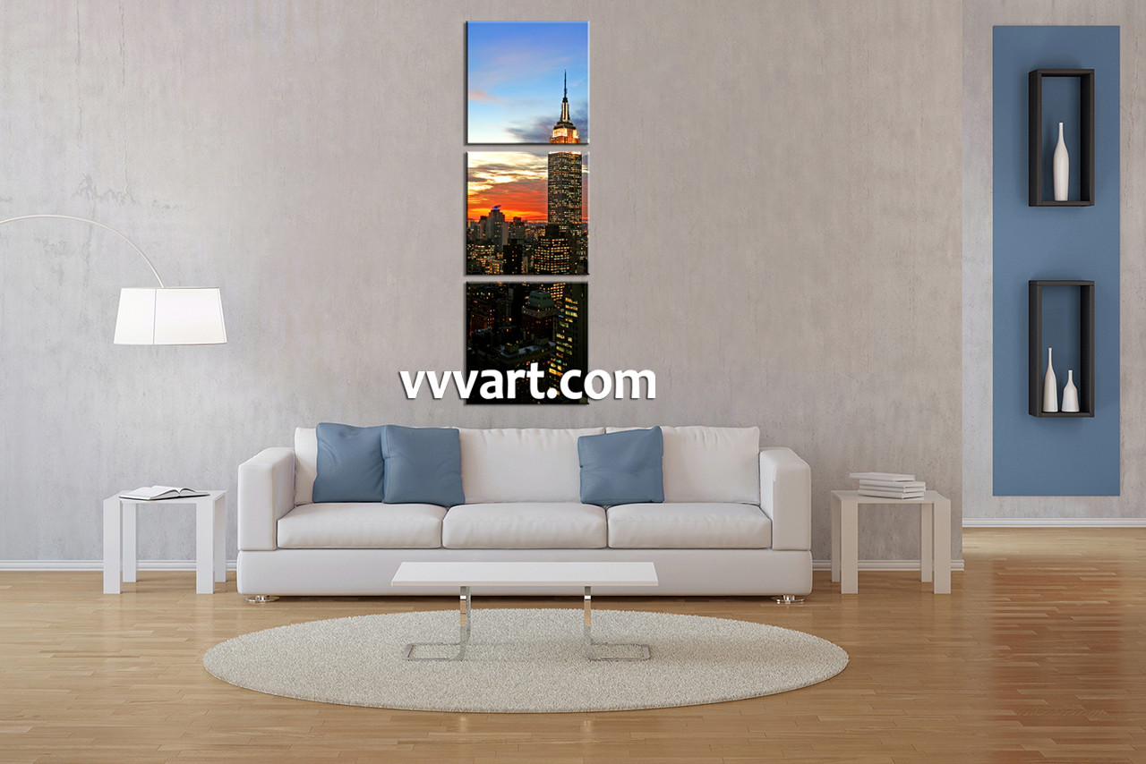 Living Room Wall Art And Decor 3 Piece City Black Group Canvas