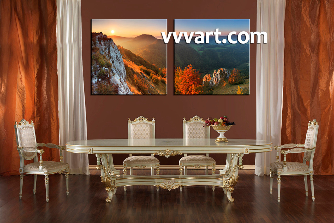 2 piece canvas green landscape wall decor
