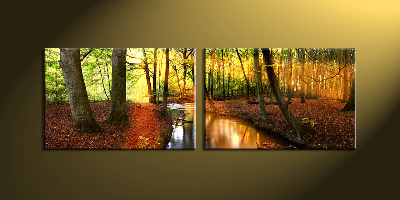 2 Piece Canvas Wall Art 2 piece colorful forest scenery canvas art prints