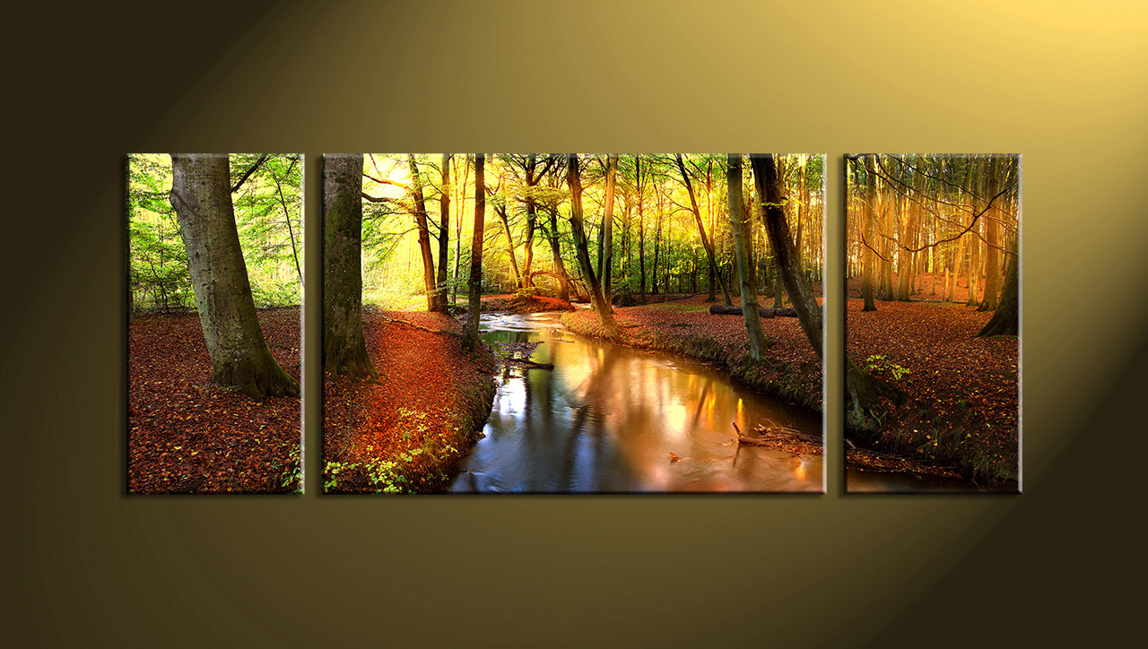 3 piece colorful canvas scenery trees huge pictures. Black Bedroom Furniture Sets. Home Design Ideas