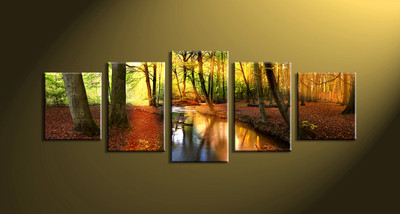 home décor,5 piece canvas art prints, nature canvas print, forest decor,  scenery large canvas