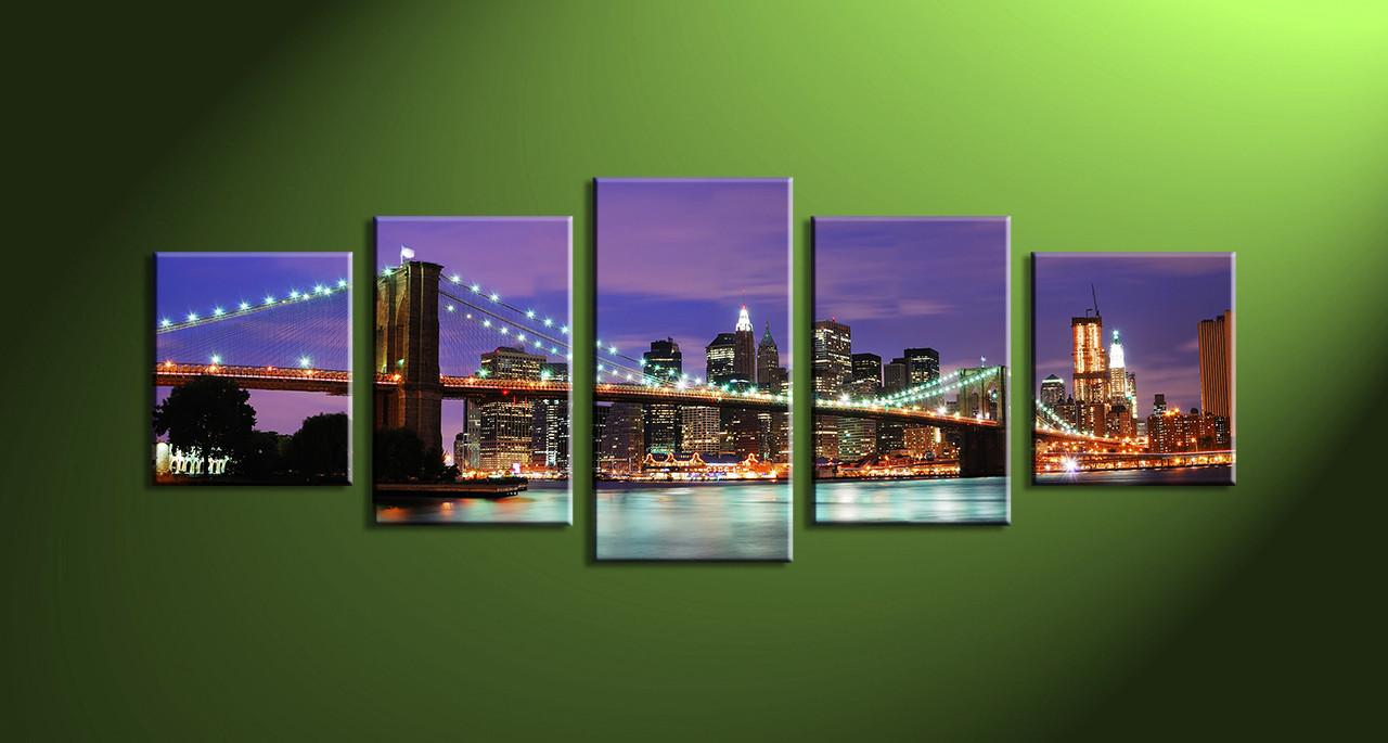 Home Décor 5 Piece Wall Art city multi panel art city scape art & 5 Piece Purple Cityscape Canvas City Wall Art