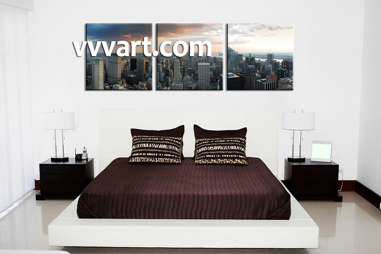 Cityscape Wall Art 3 piece grey city large pictures