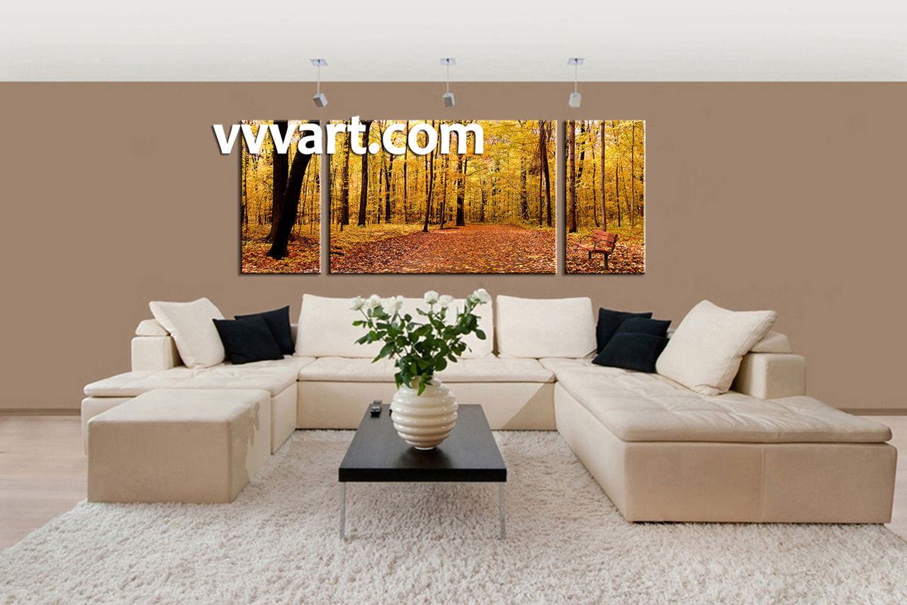 Yellow Wall Art 3 Piece Canvas Scenery Autumn Yellow Trees Artwork