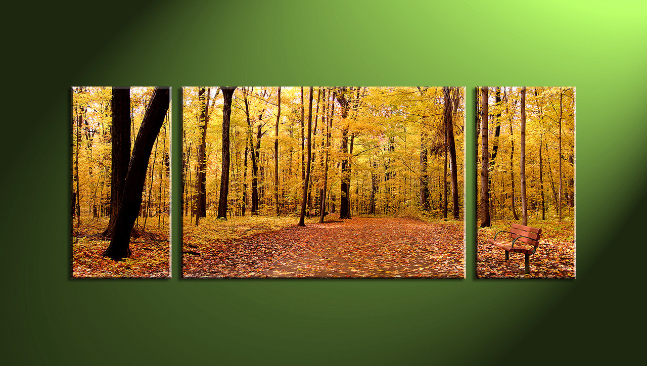 Multi Piece Canvas Wall Art 3 piece canvas scenery autumn yellow trees artwork