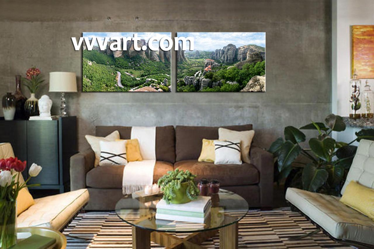 2 Piece Green Forest Landscape Canvas Wall Art