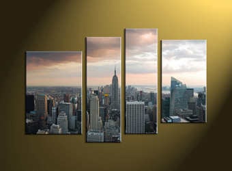Home Decor, 4 piece canvas wall art,city multi panel canvas, city group canvas, city art