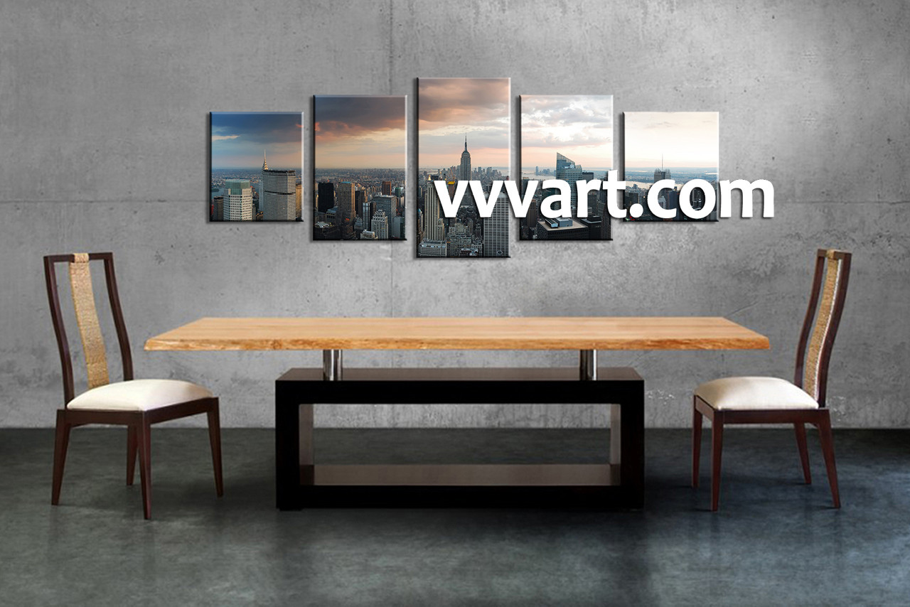 5 Piece Grey City Canvas Wall Art