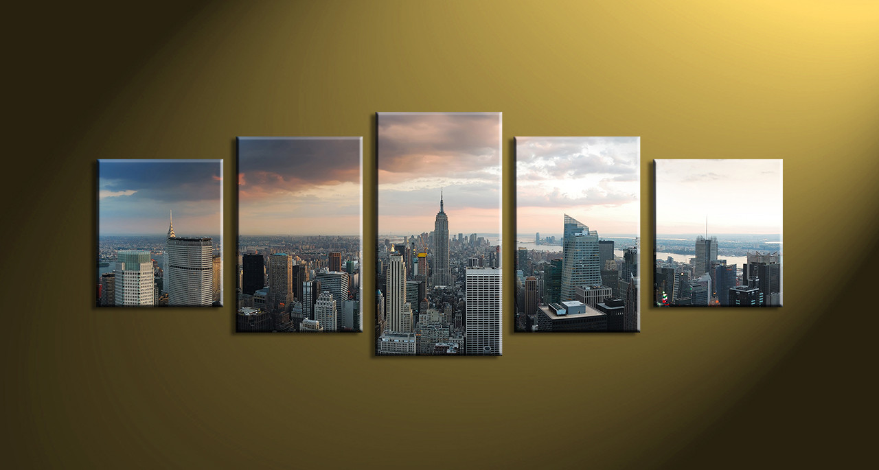 City wall art amazoncom large new york city canvas wall for Home decoration pieces