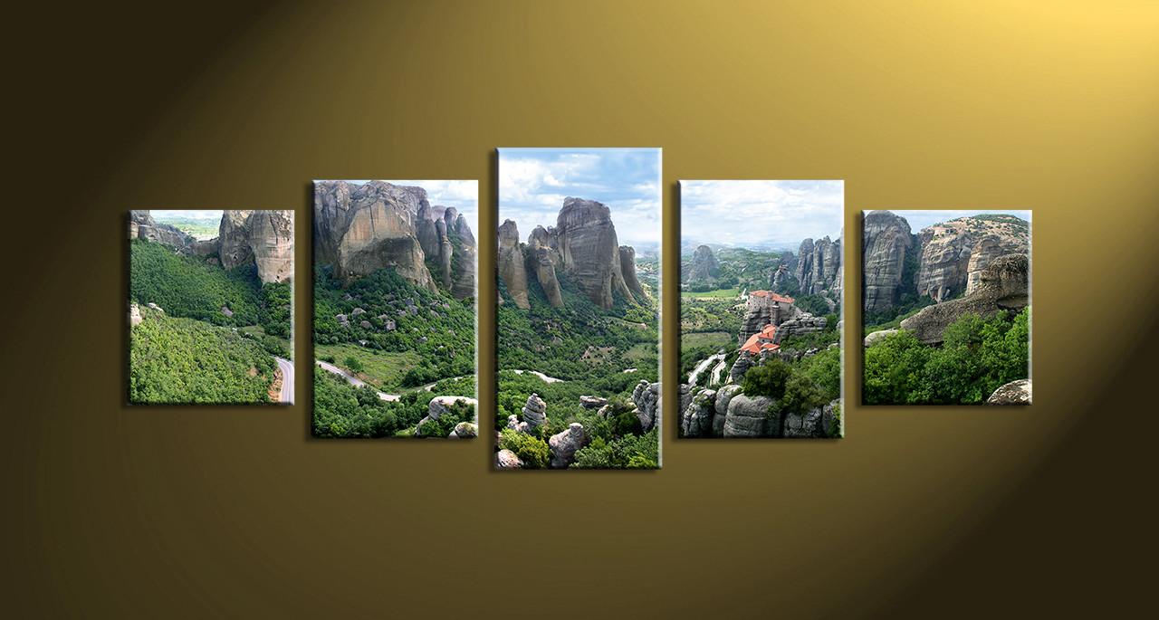 Home wall decor 5 piece wall art scenery wall art mountain artwork & 5 Piece Green Mountain Canvas Art