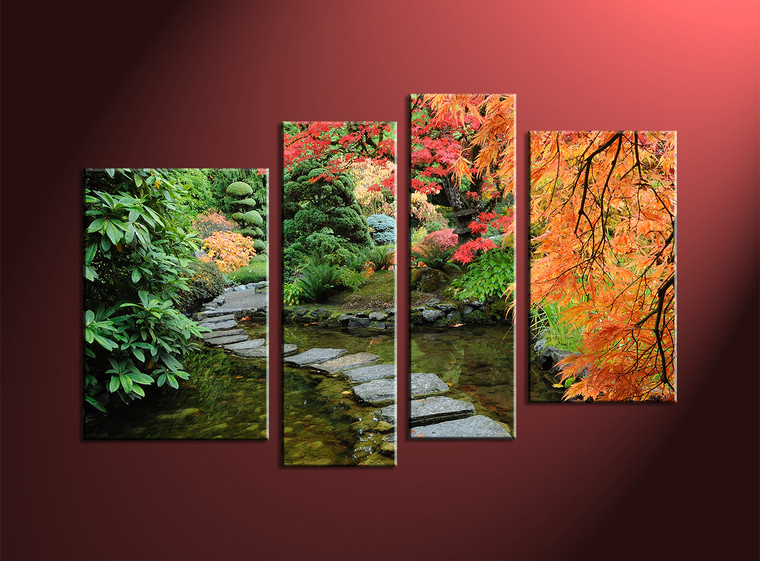 4 Piece Green Scenery Canvas Wall Decor