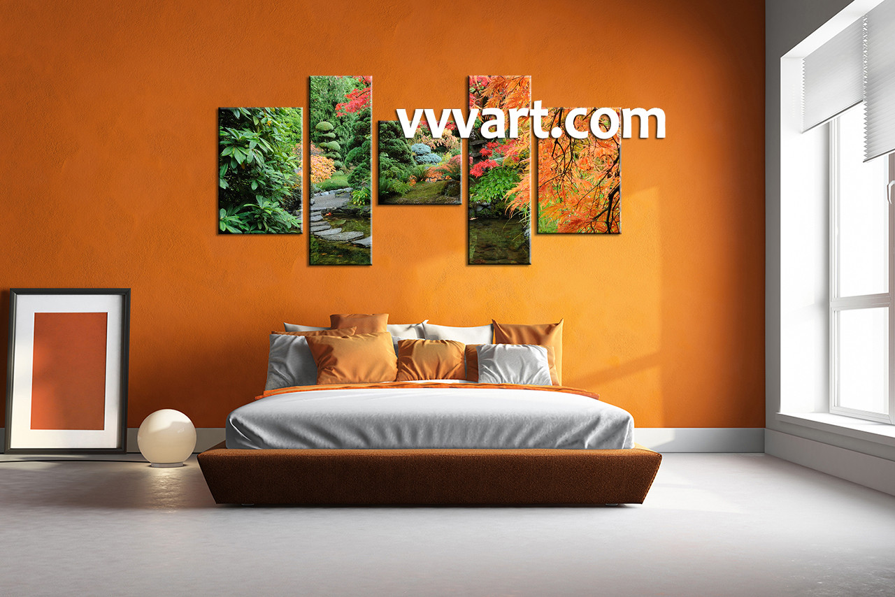 5 piece green canvas scenery wall decor for 5 piece mural