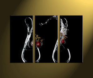 Home Wall Décor,3 piece canvas art prints , wine canvas print, scenery huge pictures, glass wall art