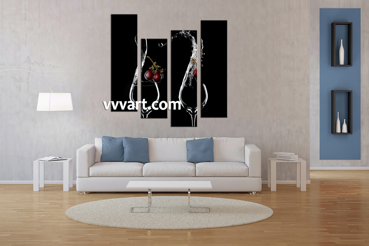 4 piece wine black canvas photography for Decoration 02100