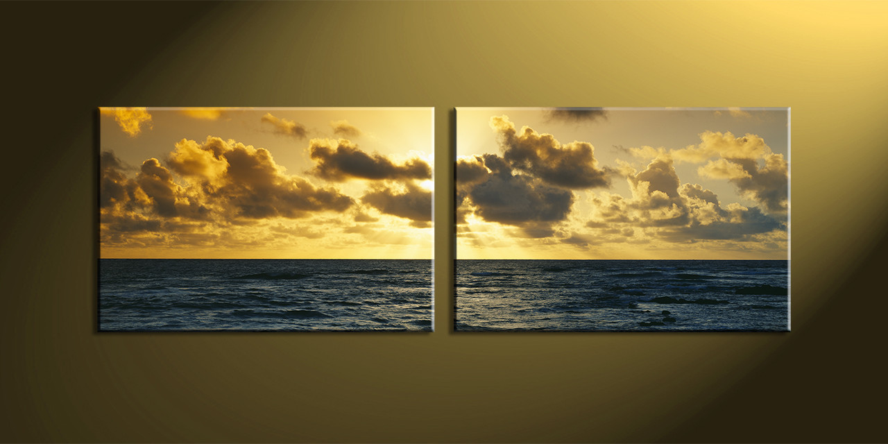 2 Piece Yellow Ocean Multi Panel Canvas