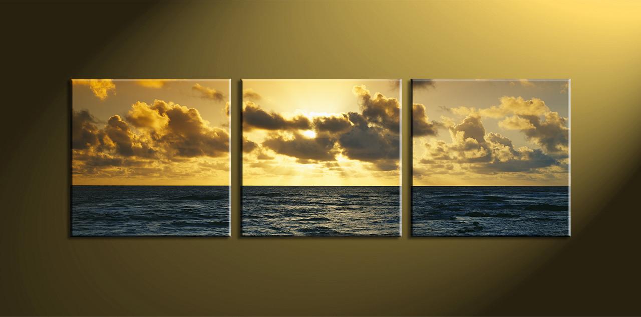 3 Piece Yellow Canvas Ocean Artwork
