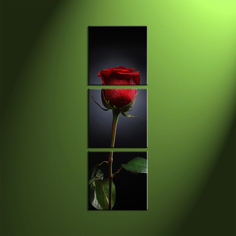 triptych red rose flower black canvas wall art. Black Bedroom Furniture Sets. Home Design Ideas