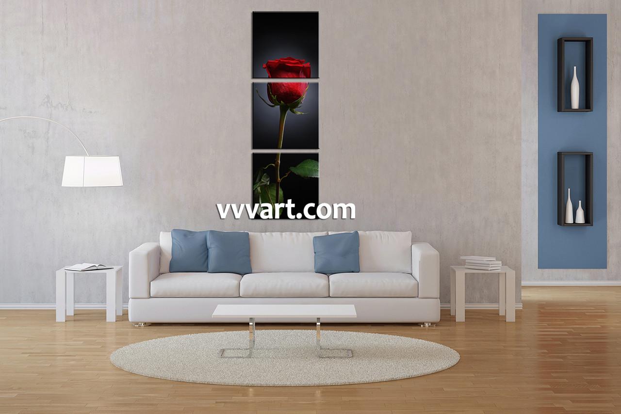 3 Piece Canvas Wall Art, Floral Wall Art, Living Room Canvas Art Prints,