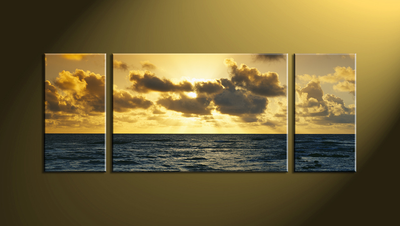 3 Piece Yellow Ocean Large Canvas