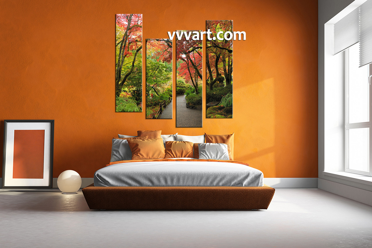Nature Canvas Wall Art 4 piece nature green trees multi panel canvas